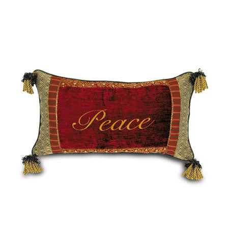 'Peace' Embroidered Accent Pillow 15x26