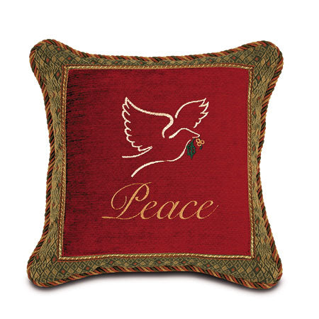 Peace Dove Embroidered Throw Pillow 16x16