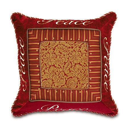 Peace Border Collage Decorative Pillow with Bells 24x24