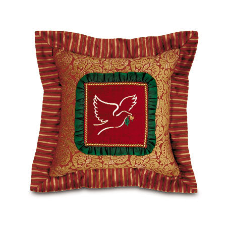 Christmas Dove Decorative Pillow with Flange 18x18