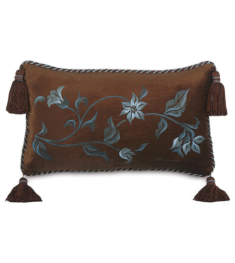 "13""x22"" Valencia Brown Velvet Handpainted Decorative Pillow Cover"