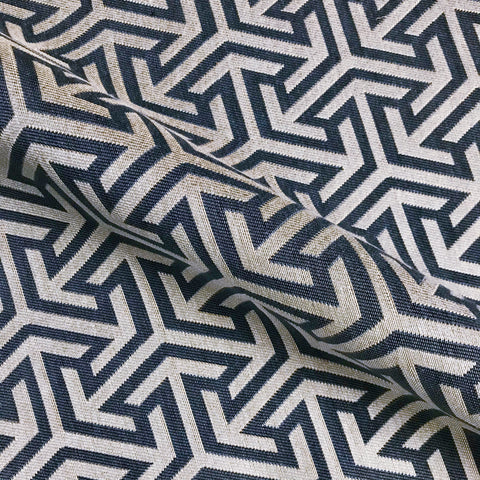 Blue and Off White Abstract Woven Upholstery Fabric - 57""