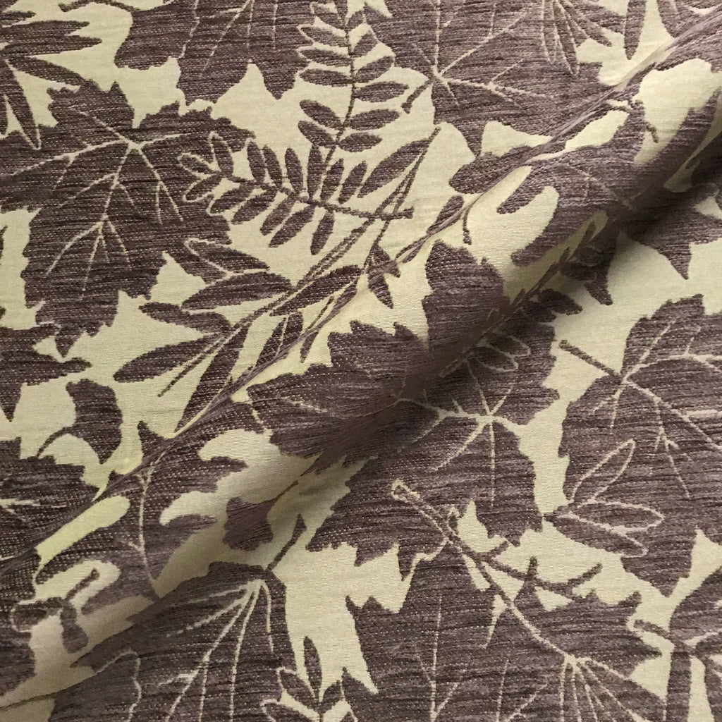 Brown Leaf Chenille Woven Upholstery Fabric 54""