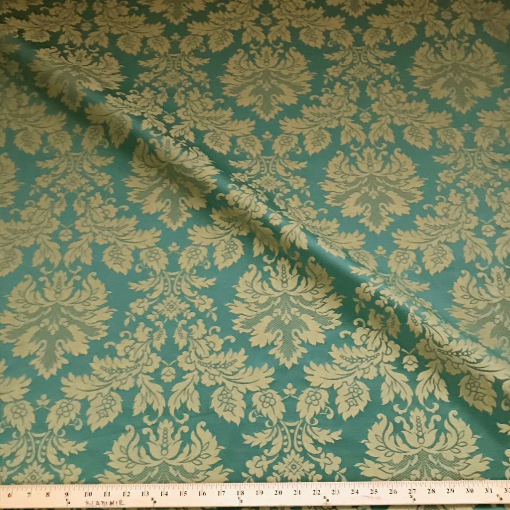 Traditional Antique Gold Green Damask Woven Upholstery Fabric 54 Plankroad Home Decor