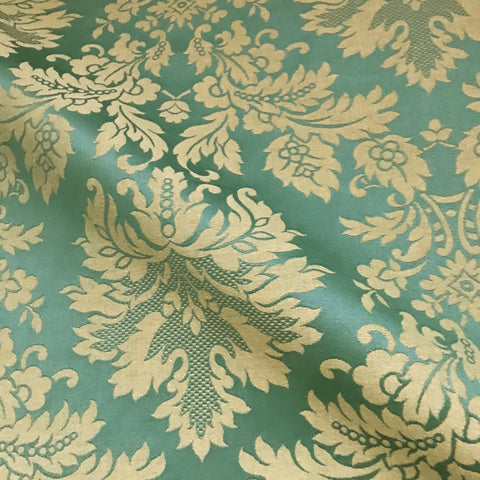 Traditional Antique Gold Green Damask Woven Upholstery Fabric - 54""