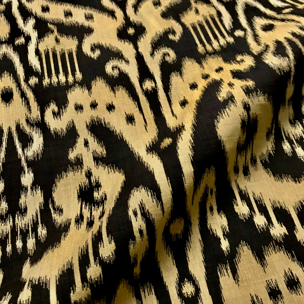 Charcoal Ikat Damask Upholstery Fabric