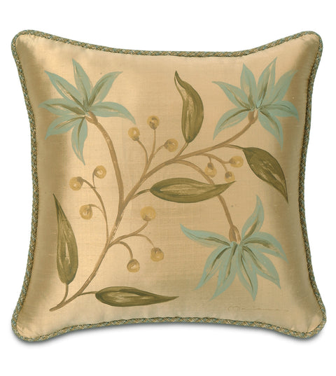 "18"" x 18"" Hand Painted Blue Lotus Flowers on Gold Silk Decorative Pillow Cover"