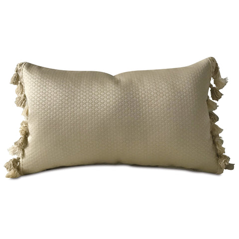 "Metallic Taupe Textured Solid Lumbar Pillow Cover with Tassel Trim 13""x22"""