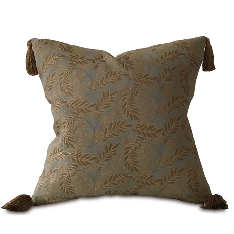 "Teal and Gold Botanical Throw Pillow Cover 20""x20"""