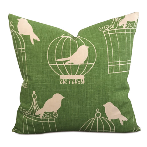 "22 x 22"" Spring Green Songbird Linen Decorative Pillow Cover"