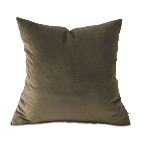 "Mocha Velvet Throw Pillow Cover 24""x24"""