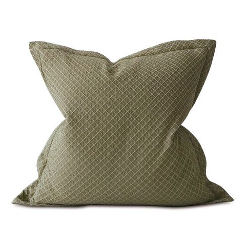 "Olive Woven Geometric Polka Dot Large Decorative Pillow Cover 26""x26"""