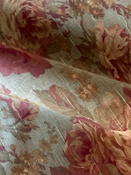 Vintage Linen Floral Textured Cotton Print Upholstery Fabric