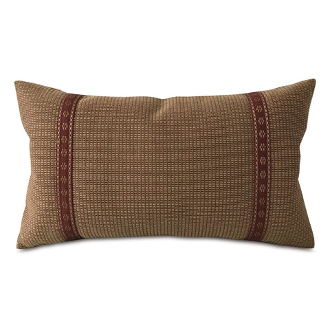 "Earth Tone Textured Border Trim Lumbar Pillow Cover 13""x22"""