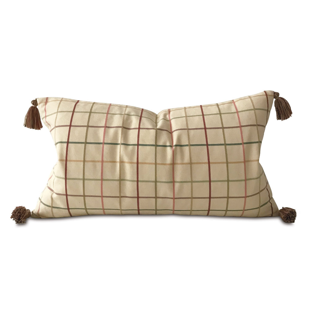 "Boho Woven Check Lumbar Pillow Cover with Tassels 15""x26"""