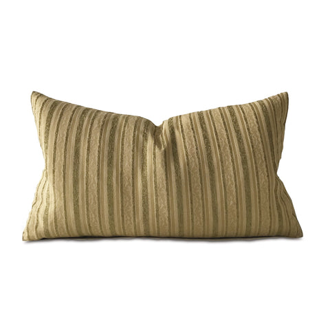 Cream and Sage Woven Striped Decorative Pillow Cover