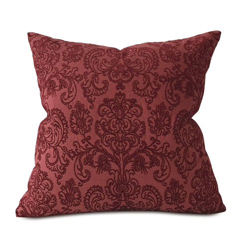 "Burgundy Woven French Damask Throw Pillow Cover 22""x22"""