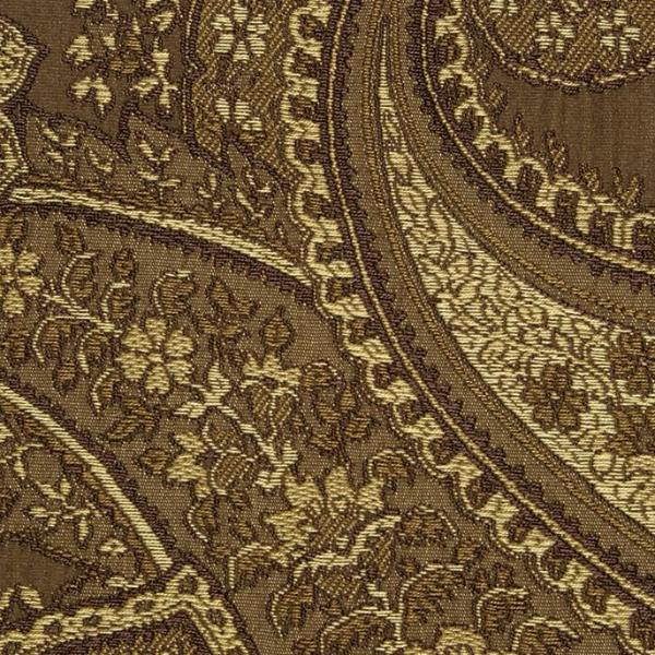 Brown Paisley Jacquard Weave Upholstery Fabric