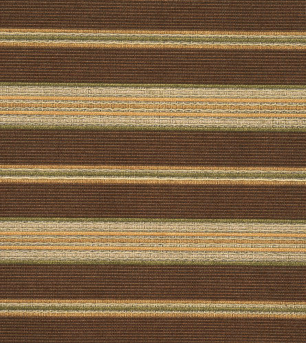 Brown Green Gold Striped Upholstery Fabric