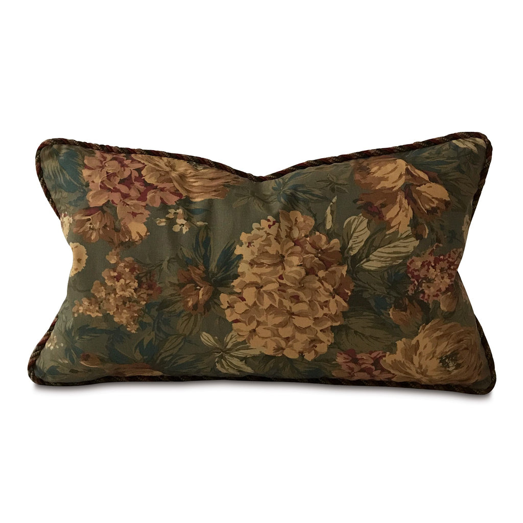 "Shabby Chic Antique Floral Lumbar Pillow Cover with Cord 15""x26"""