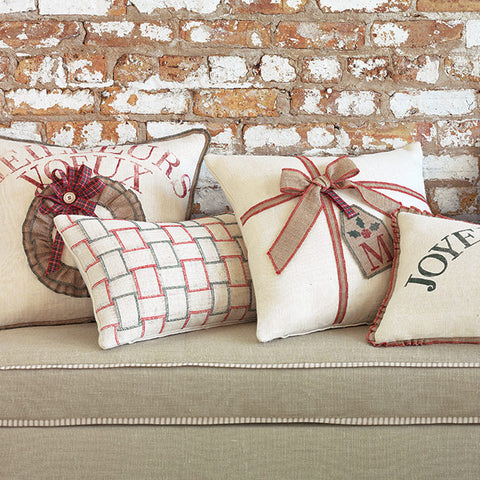 "Holiday Woven Plaid Jute Decorative Pillow Cover 13""x22"""