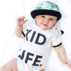 Unisex Baby Bodysuit Pants Set—Cute Kids life print White Cotton Outfit Clothes - www.sweetparentsstore.com