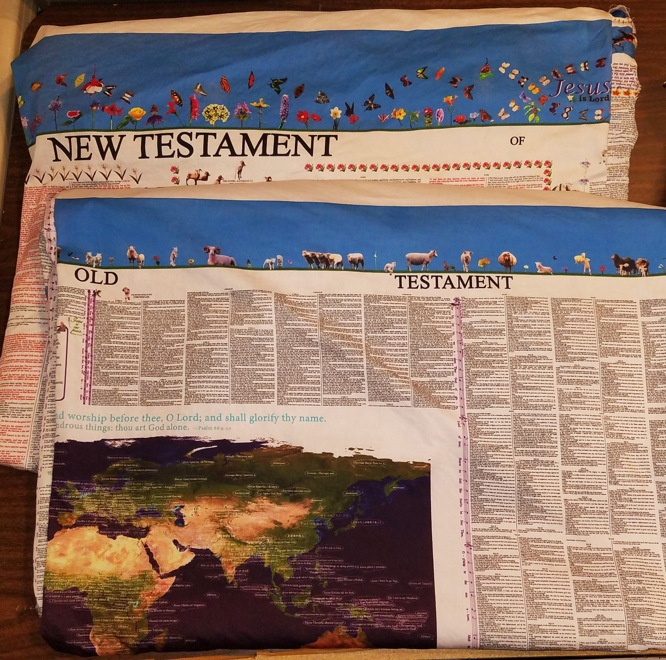 Bible Blanket fabric (New Testament and Old Testament)