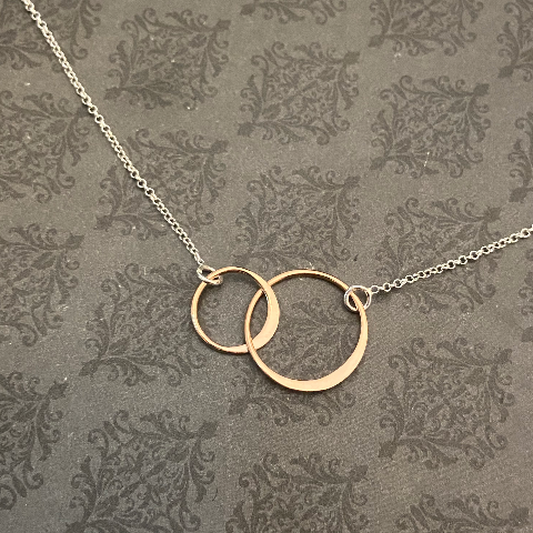 NEW**Rose Gold Double Interlocking Rings on Sterling Chain