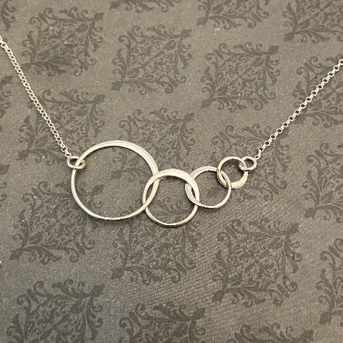 Sterling Silver Four Interlocking rings Necklace