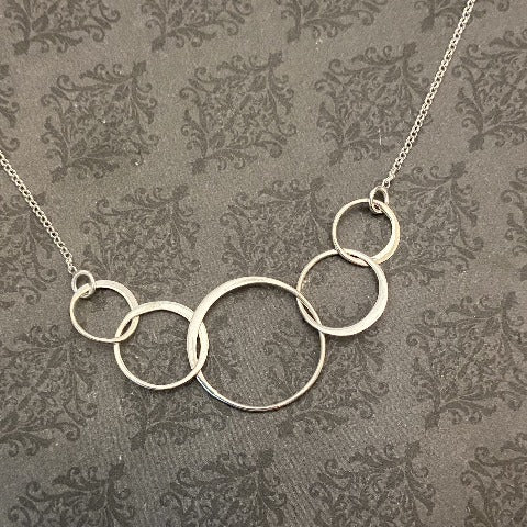 Sterling Silver Five Interlocking Ring Necklace
