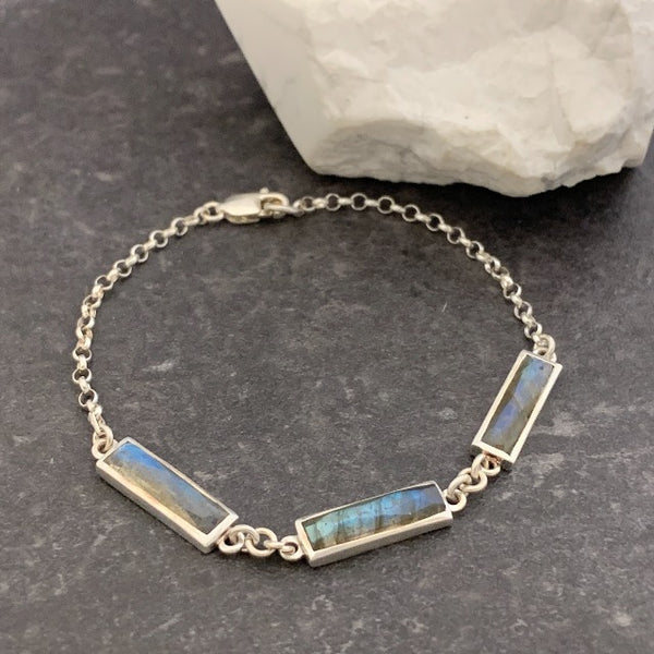 Labradorite Triple Stone Rectangle Bracelet