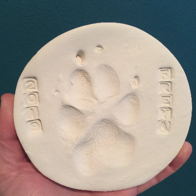 Large Round Pet Paw or Nose Print Keychain