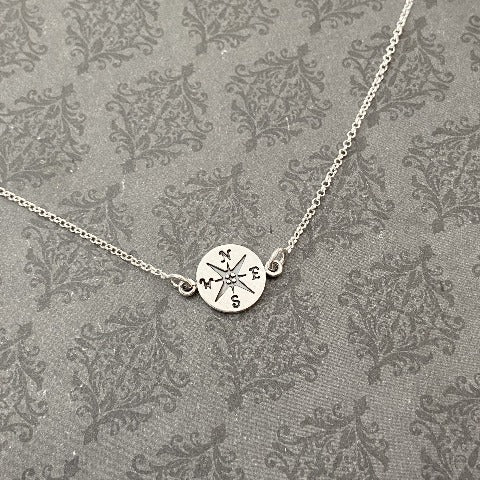 Compass Charm in Sterling Chain