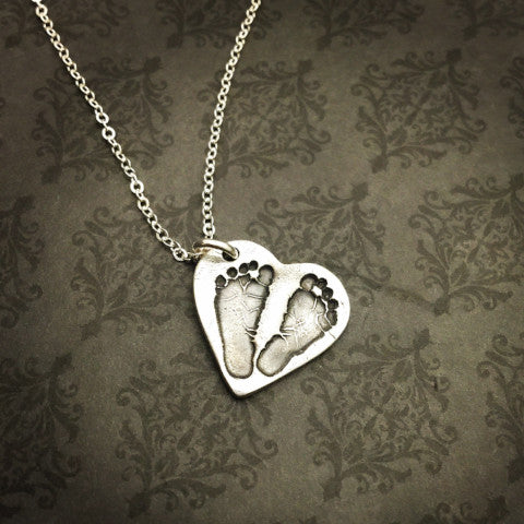 Heart Baby Footprint Necklace - Actual baby footprints