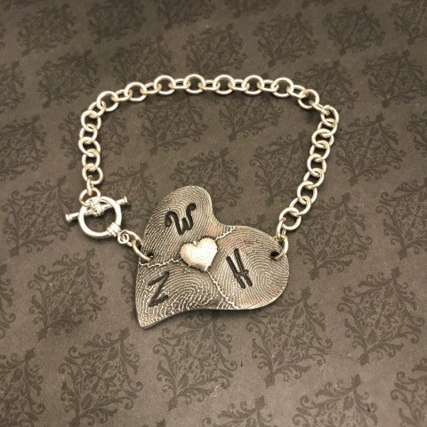 Handwriting and Fingerprint Bracelet - EXCLUSIVE Asymmetrical Heart