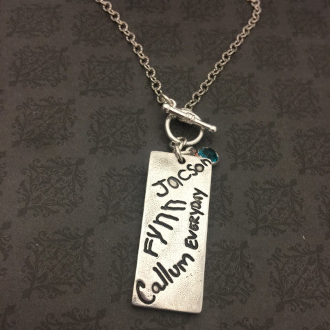Double Sided Rectangle Fingerprint and Handwriting Necklace