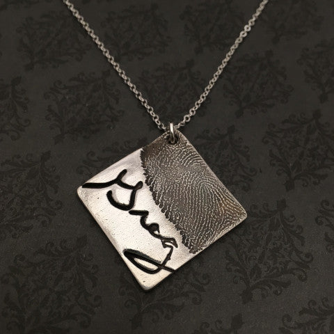 Diamond Fingerprint Necklace - Up to 5 Prints - Bestseller