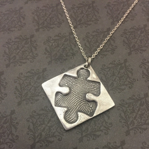 Puzzle Piece Fingerprint - Keychain or Necklace-EXCLUSIVE Design
