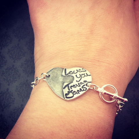 Heart Fingerprint and Handwriting Bracelet - Actual Handwriting Bracelet
