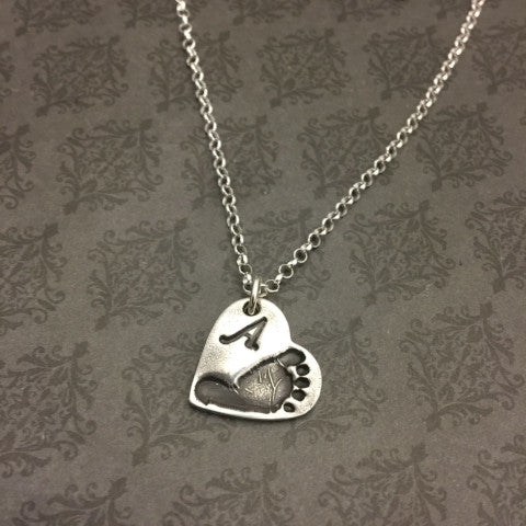 the baby be double sweet front actual footprint is with hand at gifts silver etched stamped footprints made your words names can s back disc pendant necklace an dates blossom or on comes sided