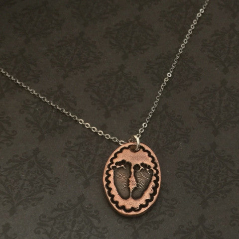 Actual Baby Footprint Boardered Oval Necklace