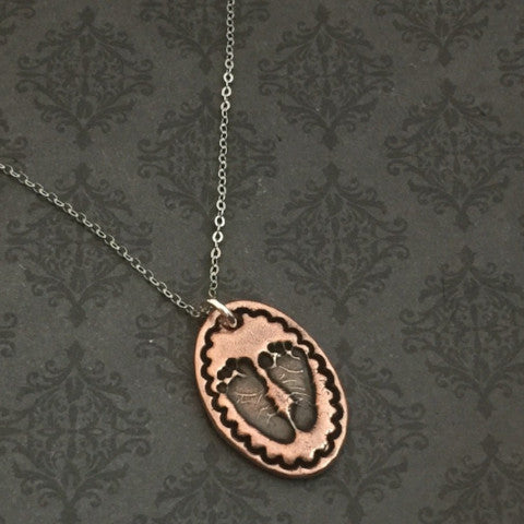 Actual Baby Footprint Necklace - Small Oval - Bordered - Copper