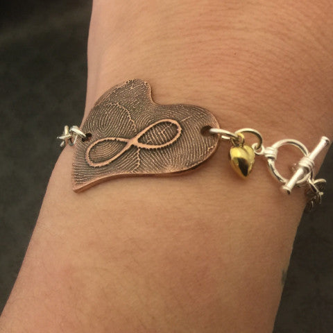 Copper Asymmetrical Infinity Heart Fingerprint Bracelet