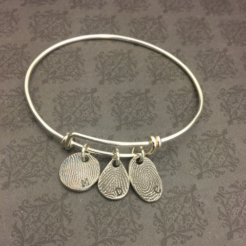 Bangle Bracelet with Dainty Fingerprint charms - Adjustable Bangle Bracelet