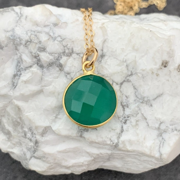 Round Green Onyx One-of-a-Kind Necklace