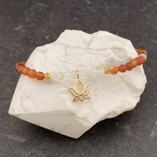 Carnelian and Moonstone with Lotus Charm Bracelet