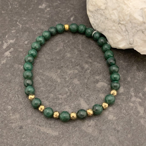 Malachite and Faceted Pyrite Bead Bracelet