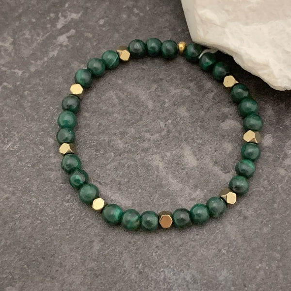 Malachite and Geometric Pyrite Bead Bracelet