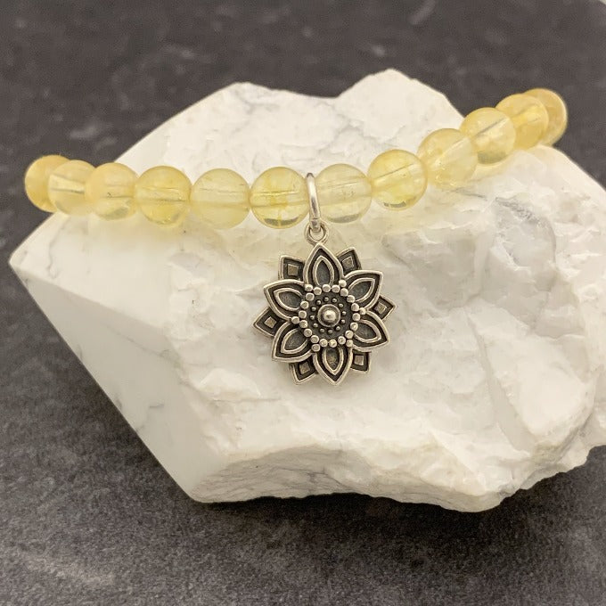 Citrine and Sterling Abundance Mandala Bracelet