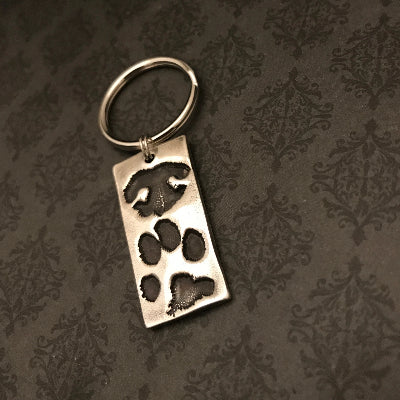 Rectangle Pet Paw Print Keychain